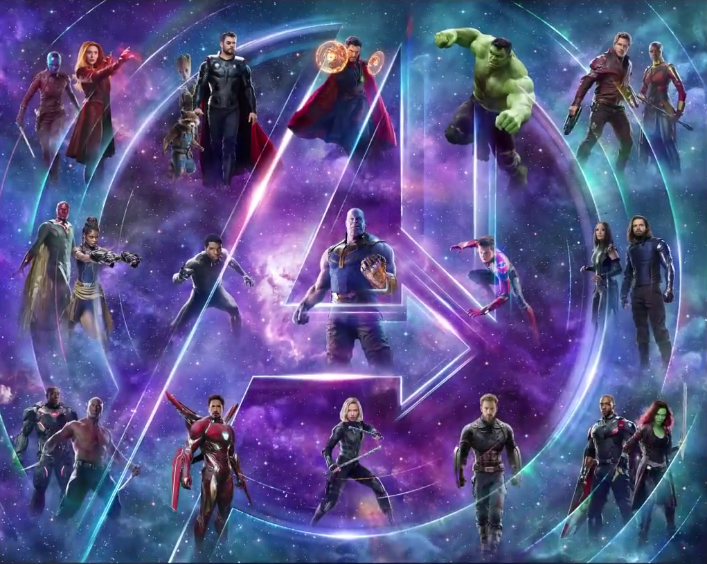 the avengers: infinity war characters assemble into giant poster