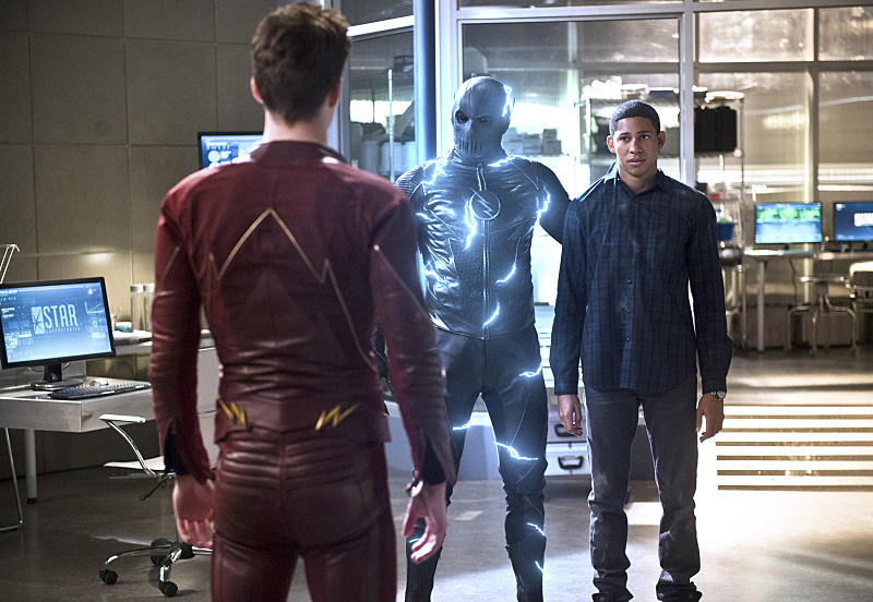 "Grant Gustin, Teddy Sears, and Keiynan Lonsdale as Barry Allen ""The Flash,"" Hunter Zolomon/Jay Garrick ""Zoom,"" and Wally West."