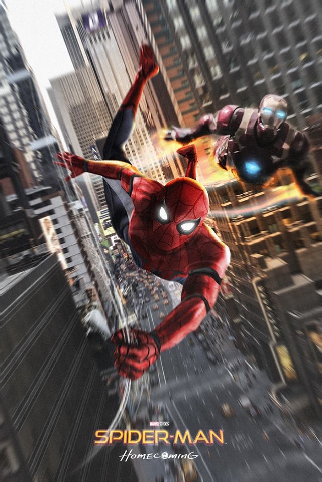 Cool spider man homecoming iron man fan poster cosmic - Spiderman and ironman wallpaper ...