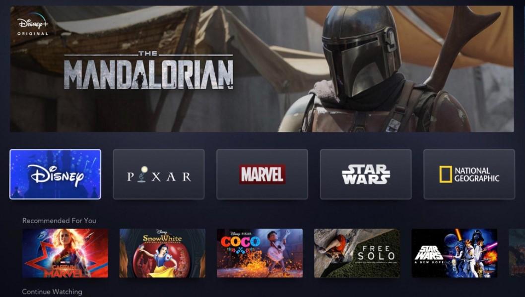 Disney Plus interface Star Wars
